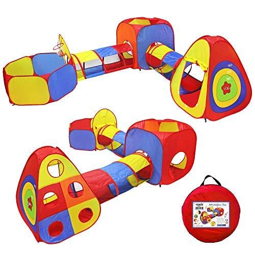 niñas Playhouse para Interiores y Exteriores Play Tent Tunnel 3 en 1 Ball Pit para niños niños bebés y niños pequeños SLONG Pop Up Play Tent with Tunnel
