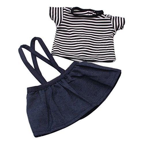 MagiDeal Schöne Gestreiftes kurzärmelig T-Shirt & Hosenträger Minirock Kleidung Set für 18'' American Girl (American Girl Puppe Rotes T-shirt)