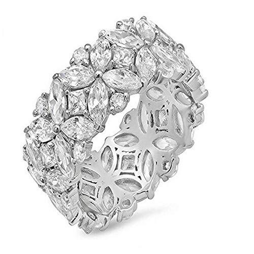 XCWXM Ringe Für Für Blumenform Versprechen Ring Set 925 Sterling Silber 5A Zirkon Cz Verlobungsringe für Frauen Männer Schmuck Geschenk, 5 - Cz Engagement Ring 2ct