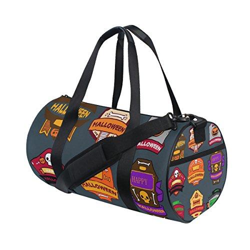 COOSUN Halloween Schlagwörter Duffle Tasche Schulter Handlich Sport Gym-Taschen für Männer und Frauen Mittel Mehrfarben