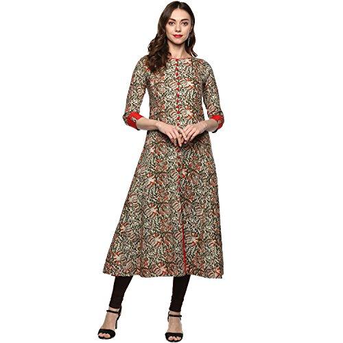 Yash Gallery Designer Kalmkari Print Womens Cotton Anarkali Kurta