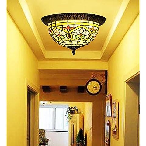 Vintage Makenier estilo Tiffany de cristal de flor de loto lámpara de techo montaje, 30,48 cm Diagonal