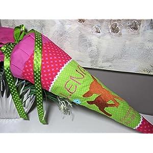 Reh Rehkitz pink-grün Schultüte Stoff + Papprohling + als Kissen verwendbar