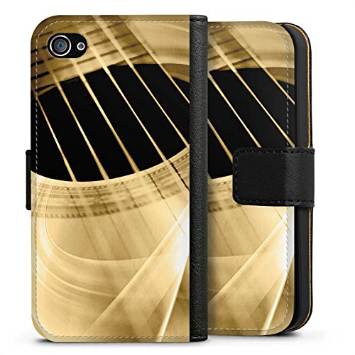Apple iPhone 7 Silikon Hülle Case Schutzhülle Gitarre Instrument Saiten Sideflip Tasche schwarz