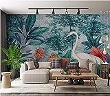 (250X200CM), Alte Zeitung 3D tapete - Tropischer Regenwald Bananenblatt Flamingo Garten Hintergrund Wand - Wallpaper Poster Wanddekoration von Bestwind