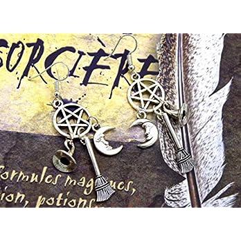 ETHNICFEATHER – Wicca-Ohrringe, Pentacle, Schmuckschutz mit Besen, Hexenhut und Halbmond