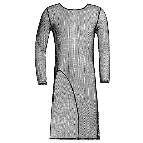 Freebily Homme Tunique T-Shirt Maillot de Corps Transparent Maille Sous Vêtement Longue Lingerie Pyjama de Nuit Clubwear M-2XL Noir 2XL