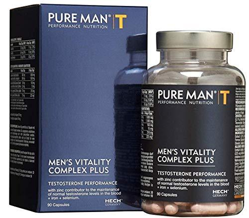HECH - PURE MAN Men's Vitality Complex Plus - Testosteron & Energie Performance - Premium Nährungsergänzungsmittel mit L-Arginin, Koffein und Guarana Extrakt, 90 Kapseln - Titandioxid Eisen