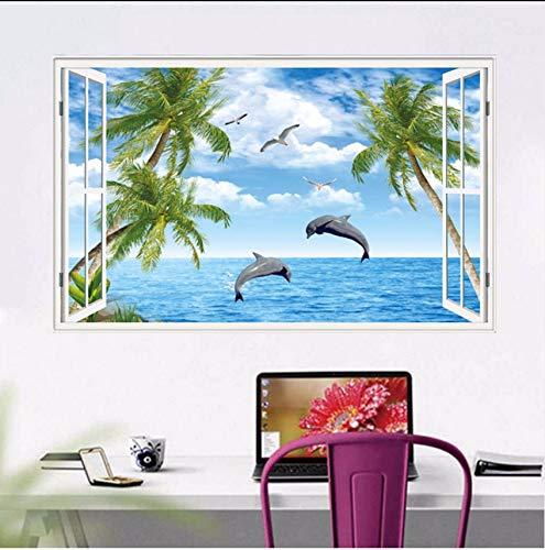 (Lvabc Dolphins Beach Kokospalme 3D Fenster Ansicht Aufkleber Strand Thema Wandmalereien Kunst Abnehmbare Vinyl Aufkleber Für Wohnzimmer Wanddekor)