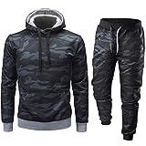 Honestyi Männer Herbst Winter Camouflage Sweatshirt Top Hosen Sets Sport Anzug Trainingsanzug(Schwarz,XL)