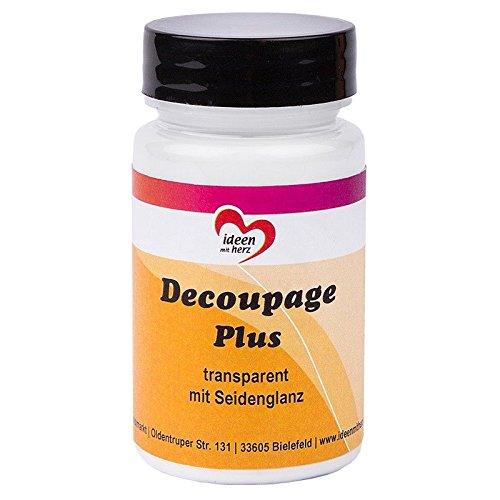 Decoupage Plus, transparent mit Seidenglanz, 90ml | Flüssigkleber und Lack in Einem | speziell für Reispapier, Papiere und Stoffe, DIY, Handwerk, Kunst | auf Waserbasis