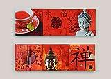 Wandbild Buddha auf Keilrahmen, 2er Set , 90 x 30 cm, rot, Buddha - Bild, Bilder, Asia, Asiatika
