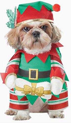Costume da elfo natalizio di babbo natale per cane abito con braccia annesse cappello osso regalo travestimento babbo natale cane maltese Jack Russell Terrier pincher papi (XS)