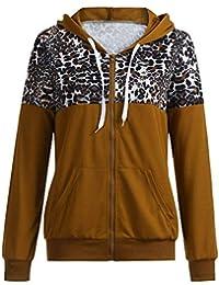 VJGOAL Mujer Otoño Invierno Moda Casual Empalme Chaqueta con Estampado de Leopardo con Capucha Suéter Escudo Sudaderas con Capucha