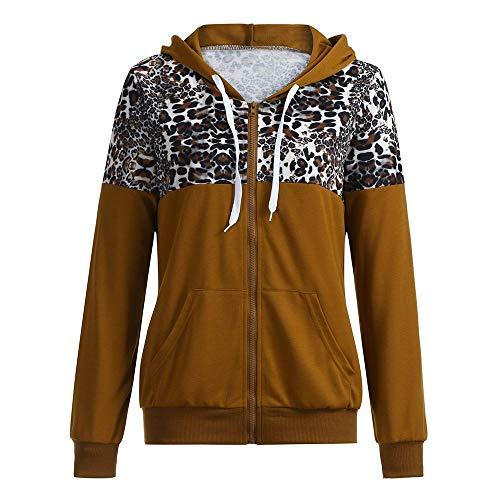 MOTOCO Damen Frauen Leopard Sweater Stitching Langarm Reißverschluss Kordelzug Tasche Kapuzenpullover Jacke Sweatershirt(L,Braun)