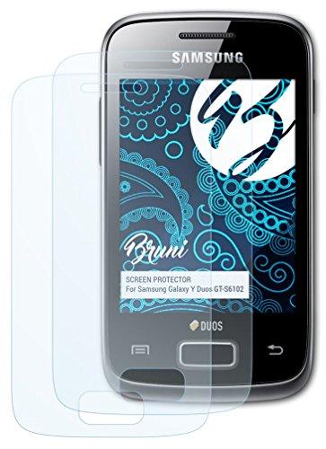 Bruni Samsung Galaxy Y Duos (GT-S6102) Folie - 2 x glasklare Displayschutzfolie Schutzfolie für Samsung Galaxy Y Duos (GT-S6102)