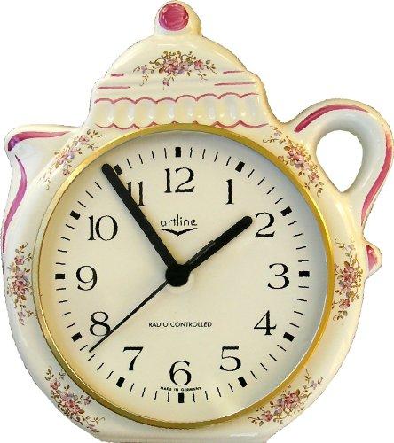 Küchenuhr Funkuhr Kaffeekanne Pink-Gold, Bordo Rand handbemalt