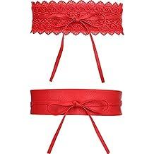 2 Estilos de Cinturón de Cuero de Mujer y Cinturón Ancha de Cuero de Lazo Vintage