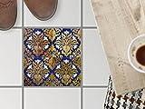 Bodenfliesen Bad-Sticker | Design-Fliesenaufkleber Badezimmerfliesen Balkon-Dekofolie Badezimmergestaltung | 30x30 cm Muster Ornament Golden Twenties - 1 Stück