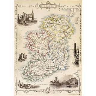 Poster 50 x 70 cm: Karte von Irland von Thomas Wright von Ken Welsh/Design Pics - hochwertiger Kunstdruck, neues Kunstposter