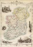 Poster 50 x 70 cm: Karte von Irland von Thomas Wright von Ken Welsh/Design Pics - hochwertiger Kunstdruck, Kunstposter