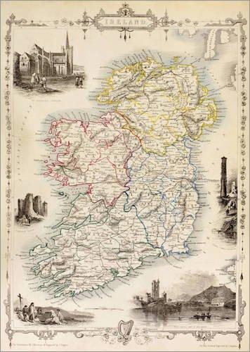 Land Mittel-wandhalterung (Posterlounge Holzbild 90 x 120 cm: Karte von Irland von Thomas Wright (18. Jh.) von Ken Welsh/Design Pics)