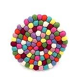 Hand Made Wollfilz Kugeln Untersetzer Untersetzer Platzsets Kaffee Untersetzer rund 20,3cm Durchmesser Multi Farbe