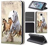 CoverHeld Hülle für Samsung Galaxy S4 Mini Premium Flipcover Schutzhülle aus Kunstleder Flip Case Motiv (1025 Pferd Pferde Braun Weiß)