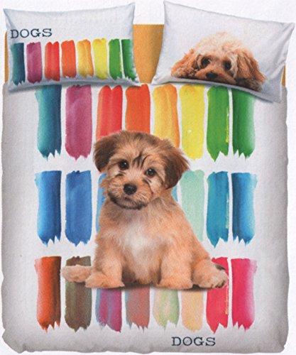 Bassetti Couette Color Dog (Sac 250 x 200 + cm.45 pattella rimbocco = 245 + 1 sous Drap 175 x 200 + 2 Taie d'Oreiller Double face 50 x 80)