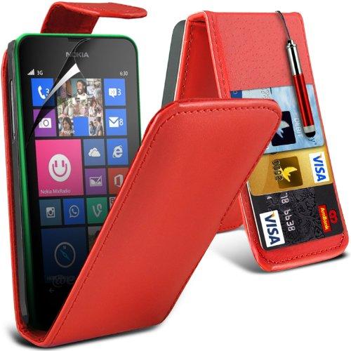 ( Orange ) Nokia Lumia 630 Hülle Abdeckung Cover Case Premium Fitted schutzhülle Tasche PU-Leder-Schlag mit 3 Kredit- / Bank-Karten-Slot-Kasten-Haut-Abdeckung mit LCD-Display Schutzfolie, Poliertuch u Retournez + Pen (Rouge)