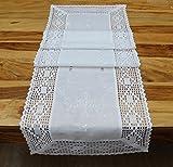 fashion and joy Tischläufer aus schöner Landhaus Serie Stickerei mit Häkelspitze in weiß Tischdecke gehäkelt & bestickt Country Chic Typ368