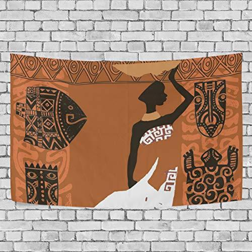 JSTEL Schöne afrikanische Schwarze Frau, Wandbehang Dekoration für Wohnzimmer, Wohnzimmer, Wohnzimmer, Tisch, Überwurf, Tagesdecke, Wohnheim, 100 x 150 cm, Multi, 150 x 130 cm - Afrikanische Wohnzimmer Tisch
