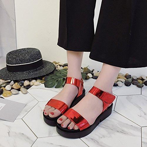 Longra Donna Moda paillettes sandali spessi inferiori Rosso