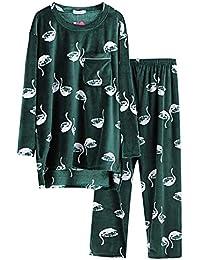 Mmllse Pijama De Terciopelo Verde De Las Mujeres De Invierno De Espesor Suelta De Gran Tamaño