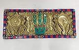 Brass Shanku Namam Chakra with Colour Stone Wall Hanging Brass Shanku Namam Chakram