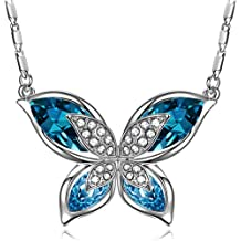 """SIVERY Ocean Blue """"Butterfly"""" Necklace with Crystals from Swarovski, Jewellery for women, Gifts for Her"""
