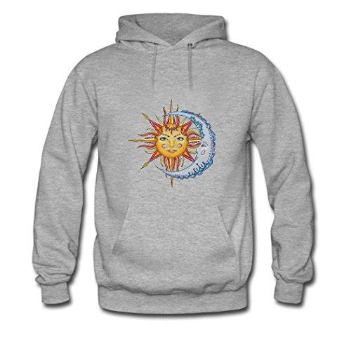 weileDIY Moon and Sun DIY Custom Women's Classic Hoodie Sweatshirt gray