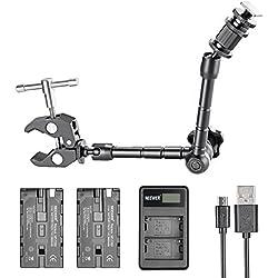 Neewer Kit accesorios para 7 pulgadas Monitor Cámara para Neewer NW759 74K 760, Feelworld FW759 759P 760 74K y más, incluye 2600mAh F550 batería de repuesto, cargador doble USB, Clip, 11 pulgadas Magic Arm de cangrejo