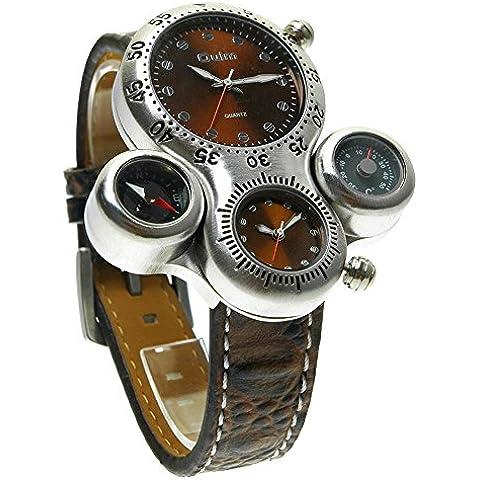 GL Moda militare all'aperto quarzo orologio da polso in pelle cinturino quadranti Dual Bussola termometro (Antico Brown Parete Specchio)