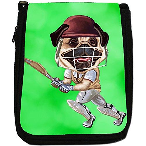 Pug-Athlete Rugby-Pallone da calcio, Tennis-Borsa a tracolla in tela, colore: nero, taglia: M Nero (Cricket Pug Playing With Bat)