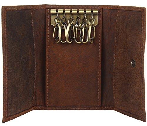 Schlank Compact -Schlüssel-Halter -Mappen- Key -Beutel -Qualitäts-Leder (Leder Falten Italienischen)