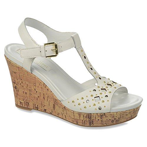 Naturalizer Riley Breit Leder Keilabsätze Sandale White