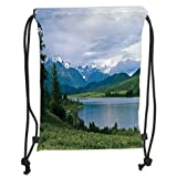 Drawstring Backpacks Bags,Nature,Belukha Mountain by The Lake Surrounded Mountain with Snowy Peaks Print,Fern Green Light Blue Soft Satin,5 Liter Capacity,Adjustable String Closure