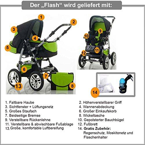 FLASH 14 teiliges Kinderwagenset 2in1 - 3