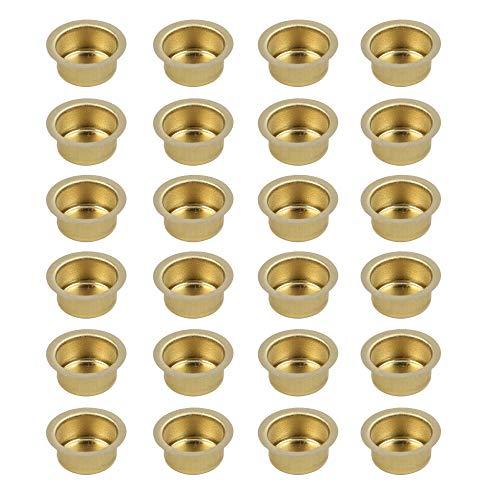 BODA Creative Kerzeneinsatz aus Messing, Durchmesser 12 mm, Kerzentülle Messingtülle Kerzenhalter aus Metall für Baumkerzen, Puppenkerzen, Pyramidenkerzen, 24 Stück