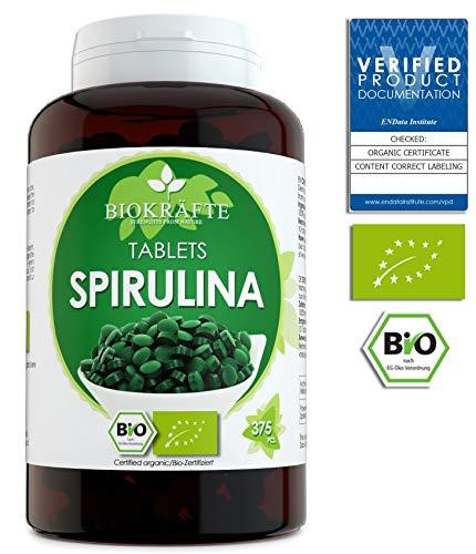 Bio Spirulina Tabletten Zertifizierte Ergänzung 375 Bio Presslinge 400 mg 4000mg Pro Tagesdosis | Im Labor geprüft
