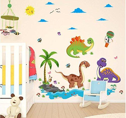 HALLOBO® Wandtattoo Dinosaurier Stegosaurus Drache Jurassic Park Wandaufkleber Bad Wandsticker Wall Sticker Wohnzimmer Schlafzimmer Deko (Dinosaurier-bad)