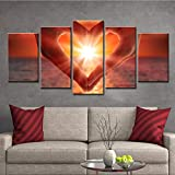 Ruifulex Ölgemälde auf Leinwand, 5 stücke Wanddekor Schlafzimmer Wohnzimmer Hintergrund Kunst Wandmalereien, Liebe Helle 30 * 50 cm * 2 30 * 70 cm * 2 30 * 80 cm * 1 rahmenlose