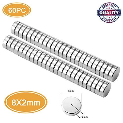Neodym Magnete, SAINKO 60pcs 8MM x 2MM Starke N48 Multifunktionsmagnete, DYI, Kühlschrank, Haus & Büro, Whiteboard, Handwerk, Schule Klassenzimmer-Magneten (60pcs 8MM x2MM)