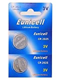 Eunicell 2 x CR2025 3V Lithium Knopfzelle 150 mAh (1 Blistercard a 2 Batterien) Markenware